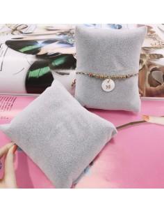cuscino porta bracciale e Orologi Bigiotteria 8 x 9 cm spessore 4 cm 1 pz in velluto colore grigio