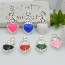 Ciondolo piccolo cuore sacro smaltato base argento 10 x 20 mm 1 pz in ottone per le tue creazioni alla moda!!!