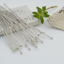 Chiodini Spilli testa Pallina 1.8 mm filo 0.7 colore argento rodio in ottone per le tue creazioni!!!
