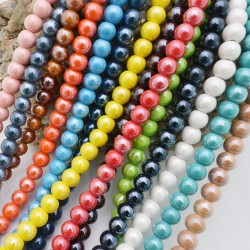 Perla in ceramica 12 mm smaltata 30 pz per bijoux collana bracciali orecchini