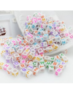 lettere a cubo di plastica multicolore 5 x 5 mm 500pz PER BIGIOTTERIA per le tue creazioni!!!