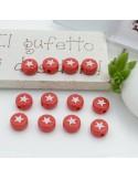 PERLINE PERLE stella bianca IN PLASTICA colore rosso 7 mm 12 pz per le tue creazioni alla moda!!!