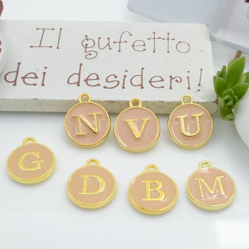 Ciondolo charms lettera alfabeto smaltato 26 pz completo 12 x 15 mm in ottone colore beige per le tue creazioni!!
