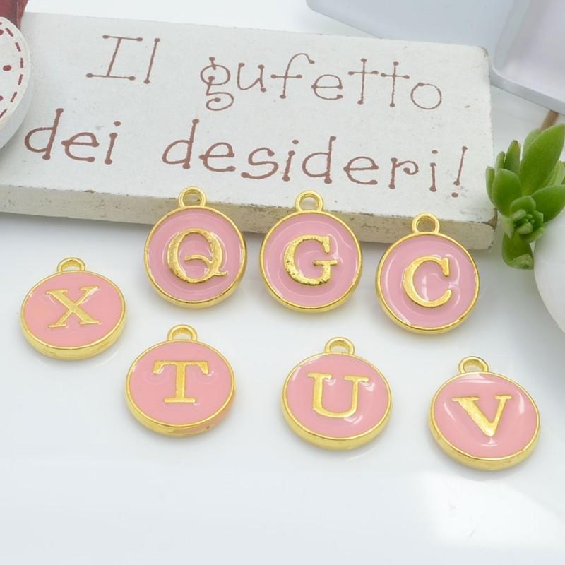 Ciondolo charms lettera alfabeto smaltato 26 pz completo 12 x 15 mm in ottone colore rosa per le tue creazioni!!