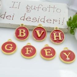 Ciondolo charms lettera alfabeto smaltato 26 pz completo 12 x 15 mm in ottone colore rosso per le tue creazioni!!