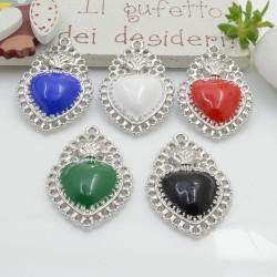 Ciondolo cuore sacro zama smaltato base argento rodio con fori 33 x 21 mm 1 pz per le tue creazioni alla moda!!!