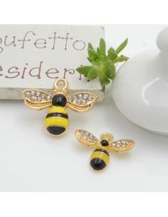 Ciondolo ape smaltata con strass varie misure 1 pz in ottone per le tue creazioni!!