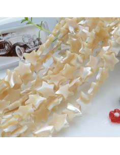 1 filo MADREPERLA NATURALE forma stella liscia colore beige 11 mm 36 pz 40 cm per le tue creazioni!!
