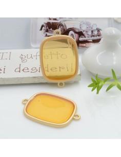 Connettore piastra in resina vetrificata 23 x 34 mm 1 pz col giallo in ottone oro opaco per le tue creazioni