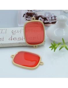 Connettore piastra in resina vetrificata 23 x 34 mm 1 pz col rosso in ottone oro opaco per le tue creazioni
