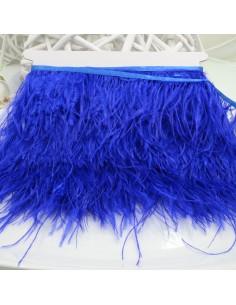 nappe piuma di struzzo Fringe piuma di struzzo altezza 16cm col blu elettrico prezzo di confezione 20cm