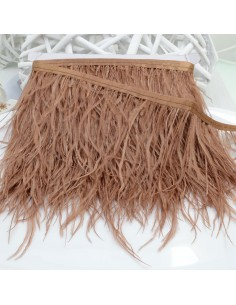 nappe piuma di struzzo Fringe piuma di struzzo altezza 16cm col marrone chiaro prezzo di confezione 20cm