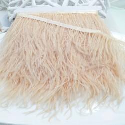 nappe piuma di struzzo Fringe piuma di struzzo altezza 16cm col beige chiaro prezzo di confezione 20cm