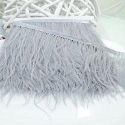 nappe piuma di struzzo Fringe piuma di struzzo altezza 16cm col grigio chiaro prezzo di confezione 20cm