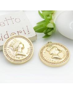 """Ciondolo pendente medaglia """"Elizabeth II 1993"""" CON ZIRCONI strass 24 x 21 mm 1 pz in ottone per le tue creazioni!!!"""