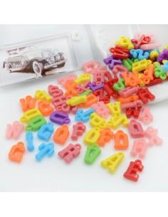 Ciondoli lettere di plastica colorate 14 x 9 mm circa 300 pz PER BIGIOTTERIA per le tue creazioni alla moda!!