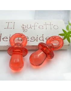 Ciondolo Ciuccio colore rosso in resina plastica 31 x 15 mm per le tue creazioni alla moda!!