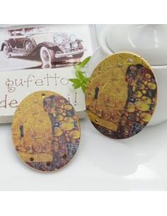 Ciondoli Elemento ovale pendente in legno L'abbraccio Klimt 40 x 30 mm 4 FORI 2 pz per orecchini per le tue creazioni!!!