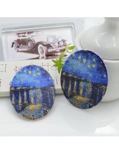 Ciondoli Elemento ovale pendente in legno Notte stellata Van Gogh 40 x 30 mm 2 FORI 2 pz per orecchini per le tue creazioni!!!