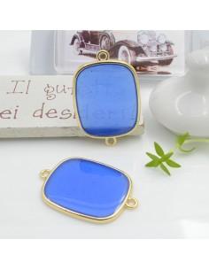 Ciondolo connettore piastrina in resina vetrificata 23 x 34 mm 1 pz colore azzurro scuro in ottone oro per le tue creazioni!!!