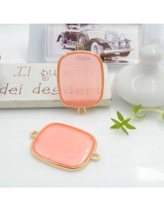 Ciondolo connettore piastrina in resina vetrificata 23 x 34 mm 1 pz colore salmone in ottone oro per le tue creazioni!!!
