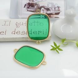 Ciondolo connettore piastrina in resina vetrificata 23 x 34 mm 1 pz colore verde in ottone oro per le tue creazioni!!!
