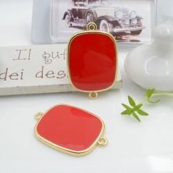Ciondolo connettore piastrina in resina vetrificata 23 x 34 mm 1 pz colore rosso in ottone oro per le tue creazioni!!!