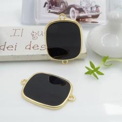 Ciondolo connettore piastrina in resina vetrificata 23 x 34 mm 1 pz colore nero in ottone oro per le tue creazioni!!!