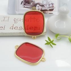 Ciondolo connettore piastrina in resina vetrificata 23 x 34 mm 1 pz col rosso trasparente in ottone oro per le tue creazioni!!!