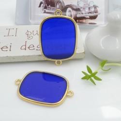 Ciondolo connettore piastrina in resina vetrificata 23 x 34 mm 1 pz colore blu in ottone oro per le tue creazioni!!!