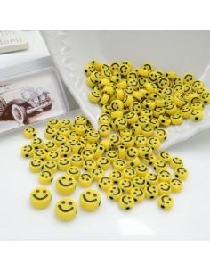 Perline Faccina Smile in plastica colore giallo varie misure per le tue creazioni alla moda!!