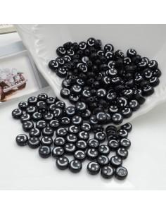 Perline Faccina Smile in plastica colore nero e bianco 4 x 7 mm 500 pz foro 1.5 mm per le tue creazioni alla moda!!