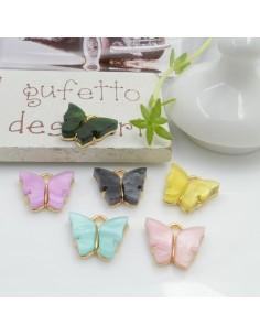 Ciondolo Charms farfalla smaltato 12 x 13 mm 2 pz base oro in ottone per le tue creazioni fai da te!