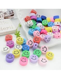100 pz Perline Forma Faccina Smile Assortiti IN PASTA POLIMERICA circa 10 mm per le tue creazioni alla moda!!