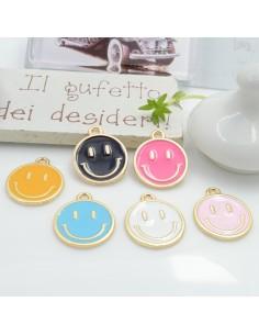 Ciondolo Charms Smile smaltato 19 x 16 mm 2 pz base oro in ottone per le tue creazioni fai da te!