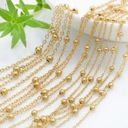 Catena in acciaio colore oro con pallina anelli saldati catena ovalina 1 mt per le tue creazioni fai da te!!