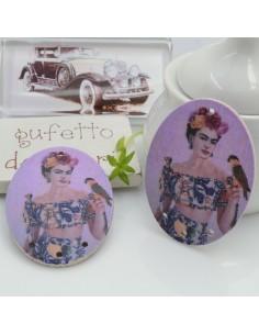 Ciondoli Elemento ovale pendente in legno Frida Khalo 40 x 30 mm 4 FORI 2 pz per orecchini per le tue creazioni!!!