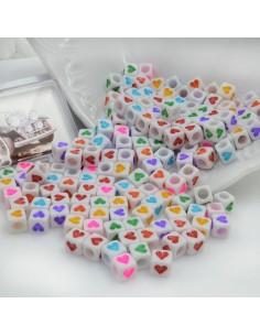 Perle di cubo con cuore multicolore IN PLASTICA BIANCO 7 mm 300 pz per le tue creazioni alla moda!!!