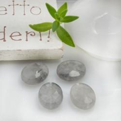 Pietre dure Quarzo Grigio ovale piatto sfaccettato con foro passante 10 x 8 mm 2 pz per le tue creazioni!!!