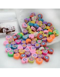 100 pz Perline di Cuore con fiori Assortiti IN PASTA POLIMERICA circa 10 mm per le tue creazioni alla moda!!