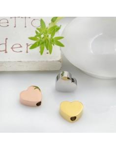 Distanziatore perline in acciaio inossidabile cuore piatto 7 x 8 mm con foro passante 1.8 mm 1 pz per le tue creazioni!!