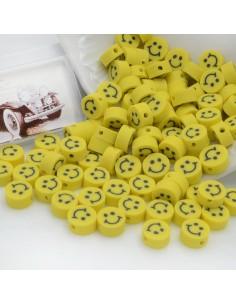 100 pz Perline di Smile faccina gialla IN PASTA POLIMERICA 10 mm per le tue creazioni alla moda!!