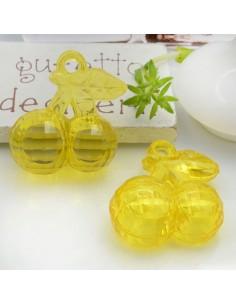 Ciondolo Ciliegia colore giallo in resina plastica 26 x 23 mm per le tue creazioni alla moda!!