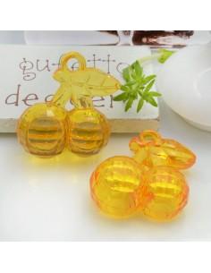Ciondolo Ciliegia colore arancione in resina plastica 26 x 23 mm per le tue creazioni alla moda!!