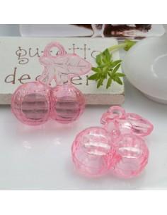Ciondolo Ciliegia colore rosa in resina plastica 26 x 23 mm per le tue creazioni alla moda!!