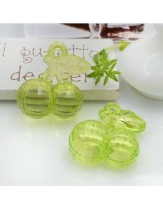 Ciondolo Ciliegia colore verde in resina plastica 26 x 23 mm per le tue creazioni alla moda!!
