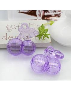 Ciondolo Ciliegia colore lilla in resina plastica 26 x 23 mm per le tue creazioni alla moda!!