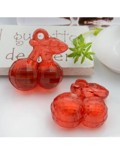 Ciondolo Ciliegia colore rosso in resina plastica 26 x 23 mm per le tue creazioni alla moda!!