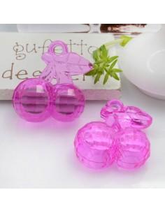 Ciondolo Ciliegia colore fucsia in resina plastica 26 x 23 mm per le tue creazioni alla moda!!