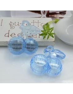 Ciondolo Ciliegia colore azzurro in resina plastica 26 x 23 mm per le tue creazioni alla moda!!